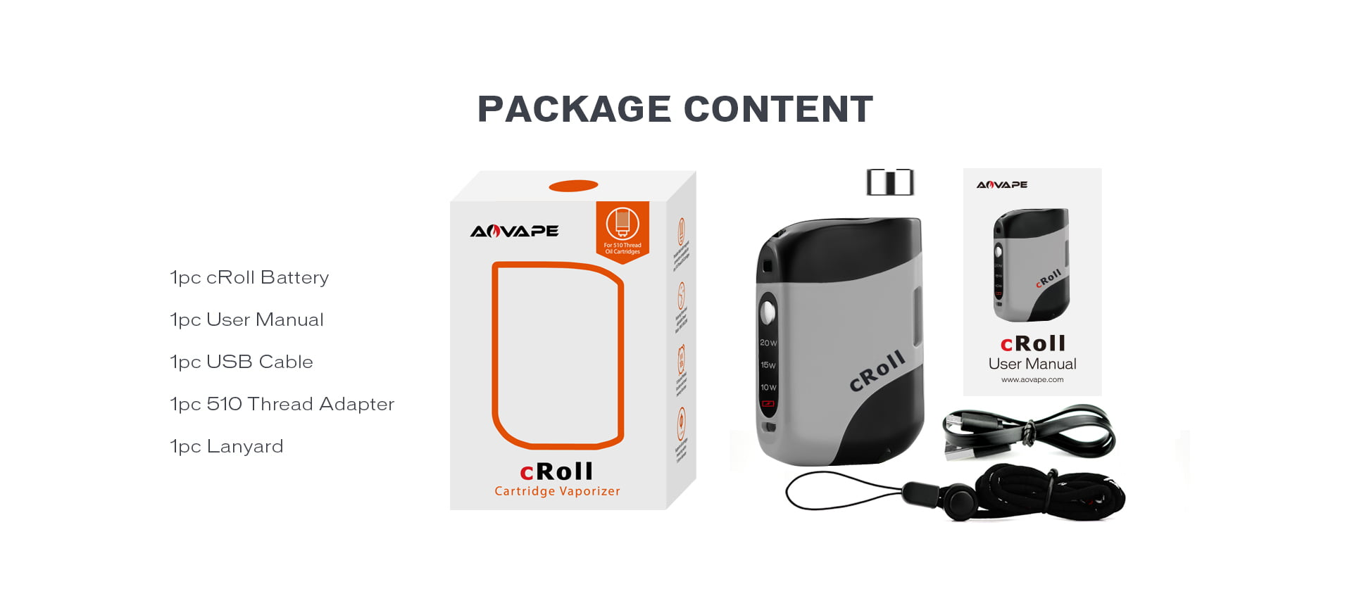 Aovape cRoll Dab Pen Battery Package